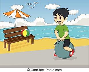 jongen, bal, spelend, kaatsen