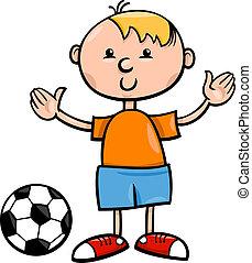 jongen, bal, spotprent, illustratie