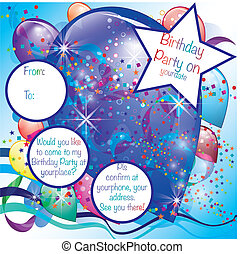 jongen, ballons, feestje, kaart, uitnodiging