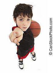 jongen, basketbal, op, speler, kind, afsluiten, agressief
