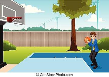 jongen, basketbal, spelend, illustratie, achterplaats