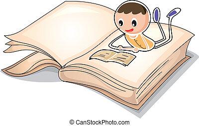 jongen, beeld, boek, lezende