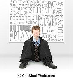 jongen, beeld, concept, opleiding