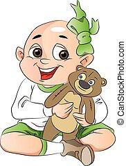 jongen, beer, illustratie, teddy