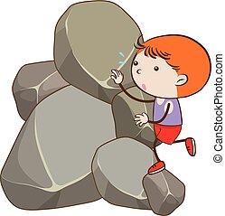 jongen, beklimming, rots