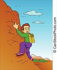 jongen, berg, illustratie, beklimming