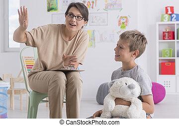 jongen, bezoek, gedurende, psychotherapist