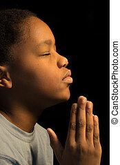 jongen, biddend, americn, afrikaan