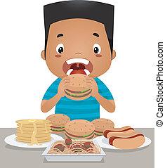 jongen, binge etend