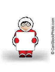 jongen, blad, paper., illustratie, vector, vasthouden, kerstmis, kleren