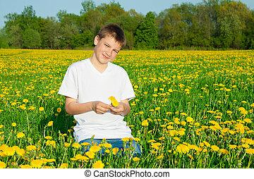 jongen, bloeien, Weide, Tiener