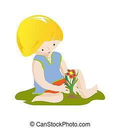 jongen, bloem