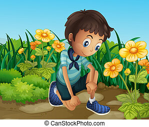 jongen, bloemen, bloeien, verdrietige
