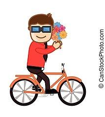 jongen, bloemen, fiets te rijden