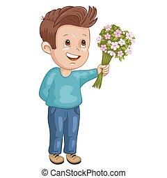 jongen, bloemen, illustratie, schattig