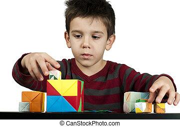 jongen, blokje, spelend, veelkleurig