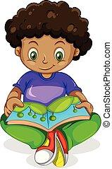 jongen, boek, black , lezende , afrikaan