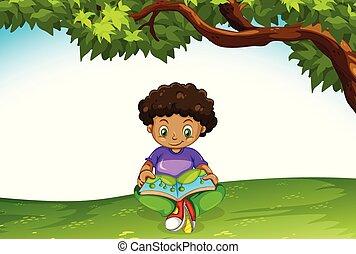 jongen, boek, lezende , afrikaan