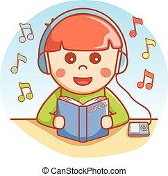 jongen, boek, lezende , het luisteren