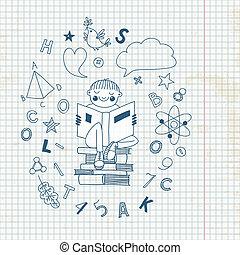 jongen, boek, lezende
