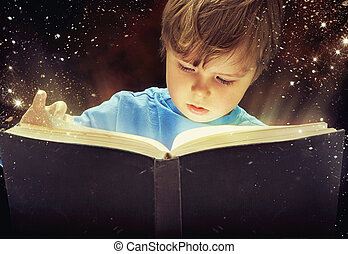 jongen, boek, magisch, jonge, verbaasd