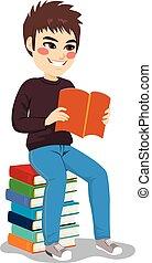 jongen, boek, stapel, student