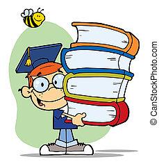 jongen, boekjes , afgestudeerd