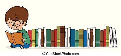 jongen, boekjes , partij, lezende