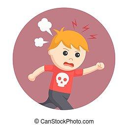 jongen, boos, in, cirkel, achtergrond