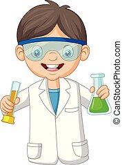 jongen, buis, twee, wetenschapper, vasthouden, test, spotprent