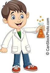 jongen, buis, wetenschapper, vasthouden, test, spotprent