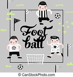 jongen, card., gekke , kinderachtig, voetbal, player., illustratie, kinderen, dekking, vector, ontwerp, achtergrond, voetbal, afdrukken, jongens