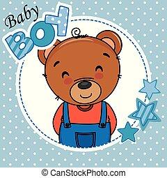 jongen, card., schattig, beer, douche, baby