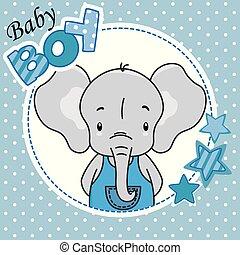 jongen, card., schattig, douche, elefant, baby