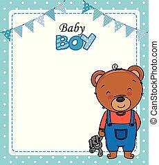 jongen, card., teddy beer, douche, schattig, baby
