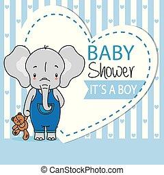 jongen, card., teddy, douche, schattig, elefant, baby
