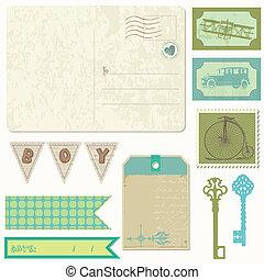 jongen, communie, postkaart, ouderwetse , -, ontwerp, plakboek