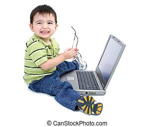 jongen, computer, kind
