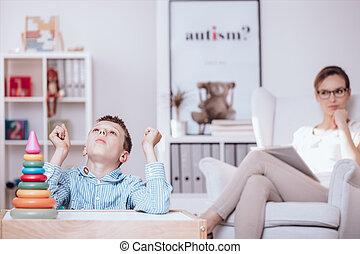 jongen, concentratie, probleem, autisme