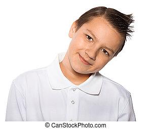jongen, de, tiener, glimlachen, vrijstaand, op, een, witte achtergrond