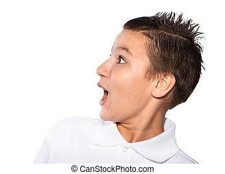 jongen, de, tiener, vrijstaand, op, een, witte achtergrond