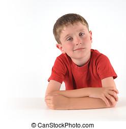 jongen, denken, over, vraag, op wit, achtergrond
