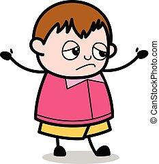 jongen, -, dik, vector, hands-up, illustratie, slachtoffer, positie, spotprent, tiener
