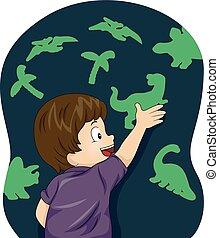 jongen, donker, dinosaurussen, figuren, gloed, geitje