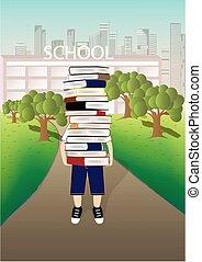 jongen, dragen, een, groot, stapel boeken, op, de, school, en, cityscape, achtergrond, verticaal, vector, illustratie