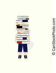 jongen, dragen, een, groot, stapel boeken, vrijstaand, op, de, witte achtergrond, verticaal, vector, illustratie