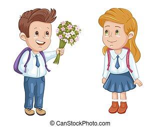 jongen, eenvormige school, meisje, zakken