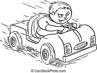 jongen, elektrisch, geleider, auto, illustratie, spotprent, pedaal, of
