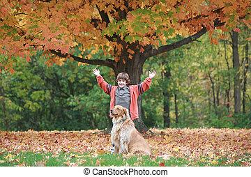 jongen, en, dog, in, de, herfst