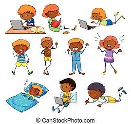 jongen en meisje, doen, anders, activiteiten